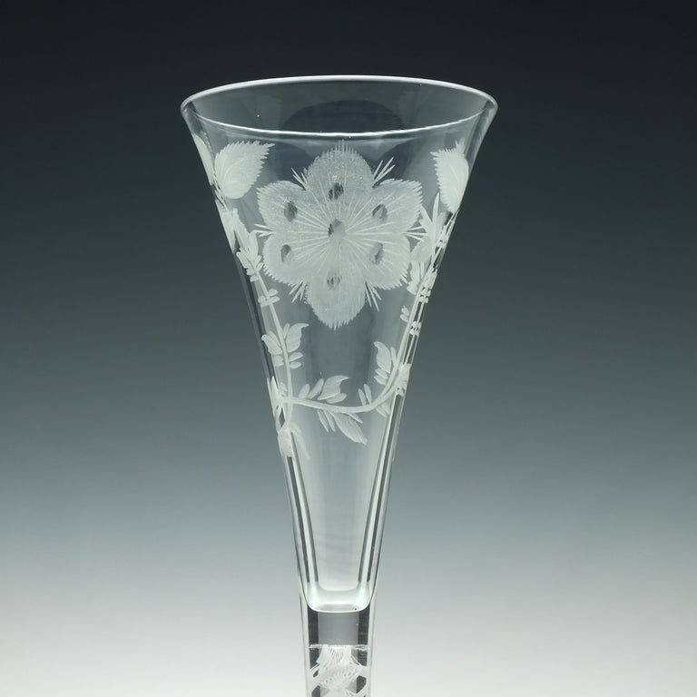 Pair of Jacobite Carnation Opaque Twist Wine Glass, circa 1760 In Good Condition For Sale In Whitburn, GB