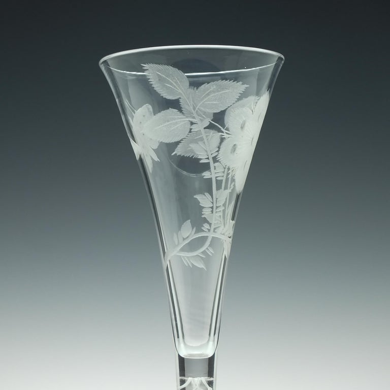 Mid-18th Century Pair of Jacobite Carnation Opaque Twist Wine Glass, circa 1760 For Sale