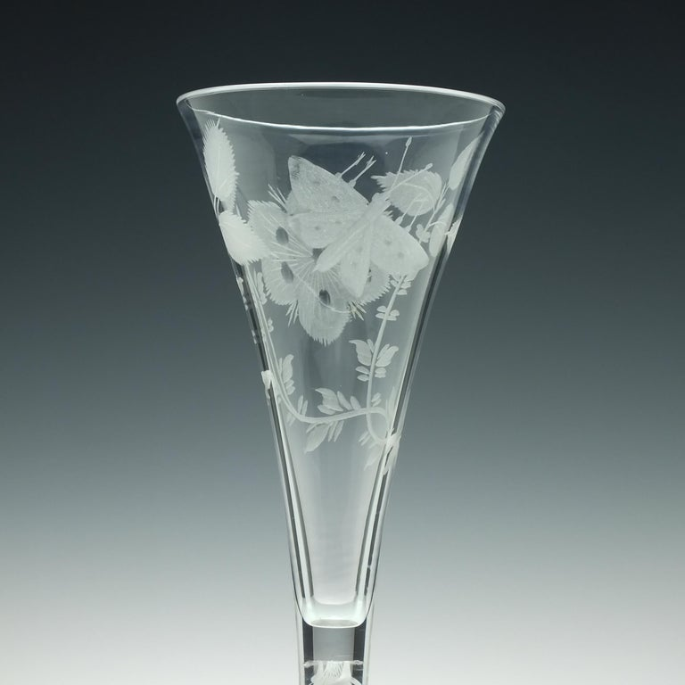 Pair of Jacobite Carnation Opaque Twist Wine Glass, circa 1760 For Sale 1