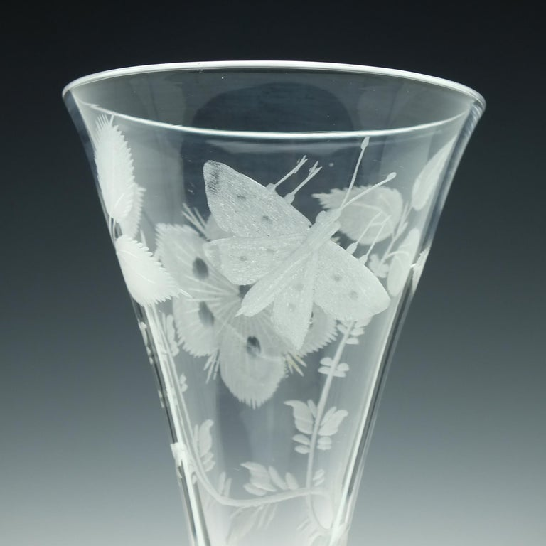 Pair of Jacobite Carnation Opaque Twist Wine Glass, circa 1760 For Sale 2