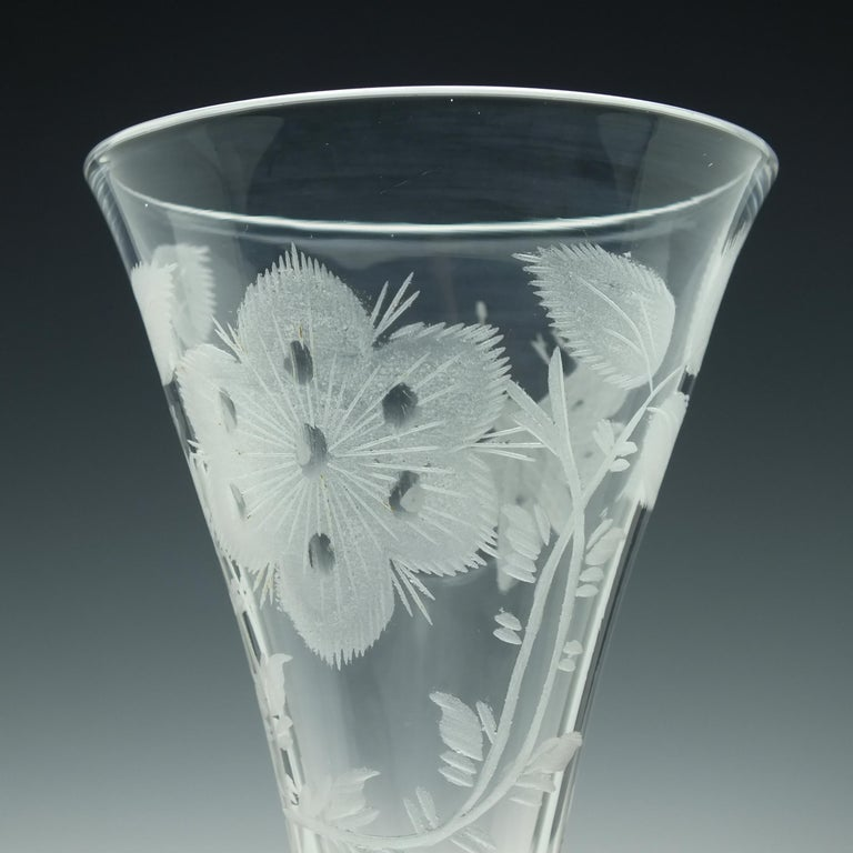 Pair of Jacobite Carnation Opaque Twist Wine Glass, circa 1760 For Sale 3