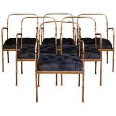 Pair Jacques Adnet Style Faux Bamboo Gilt Iron Armchairs
