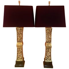 Pair of James Mont Gilt Lamps