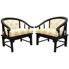 Pair James Mont Horseshoe Ming Style Chairs Armchairs Century Chair Co.