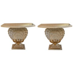 Pair of Jansen Shell Form White and Gilt Gold Glass Top Demilune Console Tables