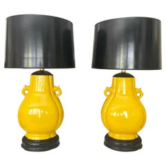 Pair Japanese Asian Bright Yellow Porcelain Table Lamps