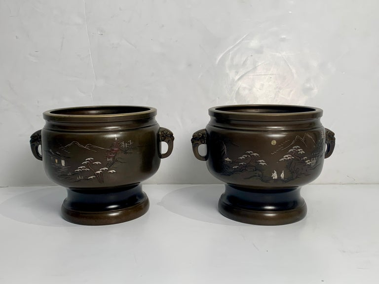 Pair of Japanese Bronze Hibachi with Silver and Copper Inlay, Meiji Period In Good Condition For Sale In Austin, TX