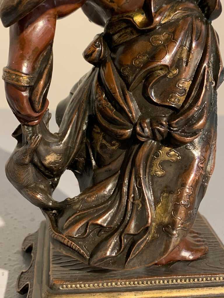 Pair of Japanese Cast Bronze Figures of Niō, Meiji Period, Late 19th Century For Sale 12