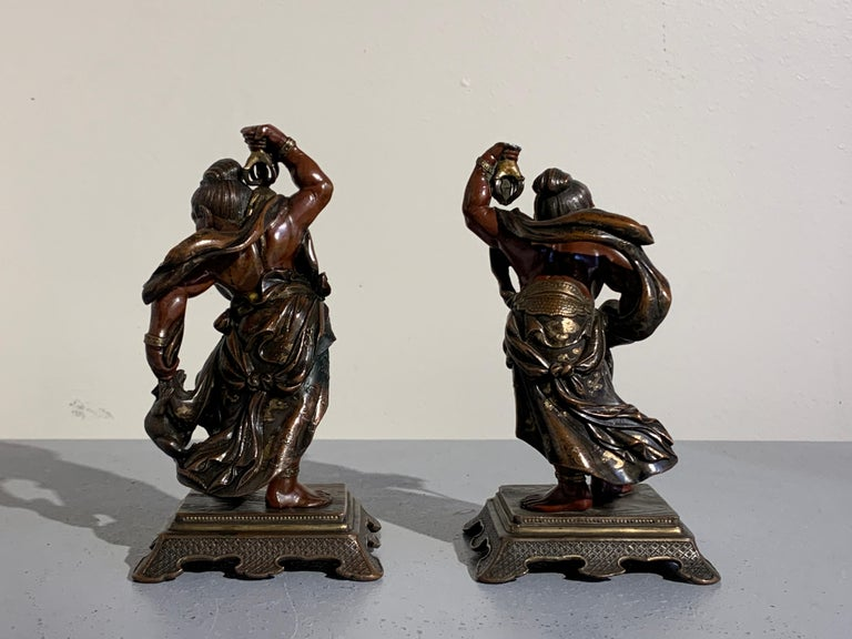 Pair of Japanese Cast Bronze Figures of Niō, Meiji Period, Late 19th Century In Fair Condition For Sale In Austin, TX