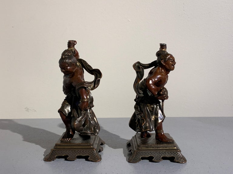 Pair of Japanese Cast Bronze Figures of Niō, Meiji Period, Late 19th Century For Sale 1