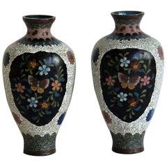 Japanese Cloisonné Vases Butterflies & Flowers, 19th Century Meiji Period, Pair