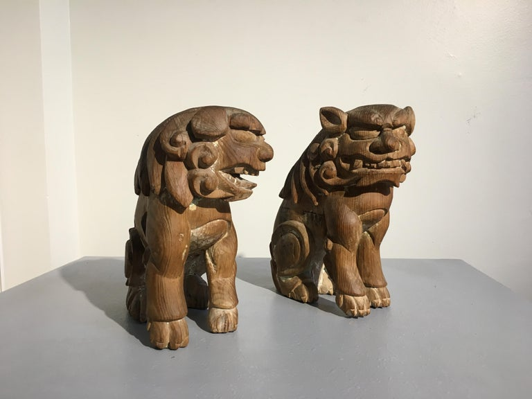 Hand-Carved Japanese Edo Period Carved Wood Foo Lion Dogs, Komainu, Early 19th Century, Pair For Sale
