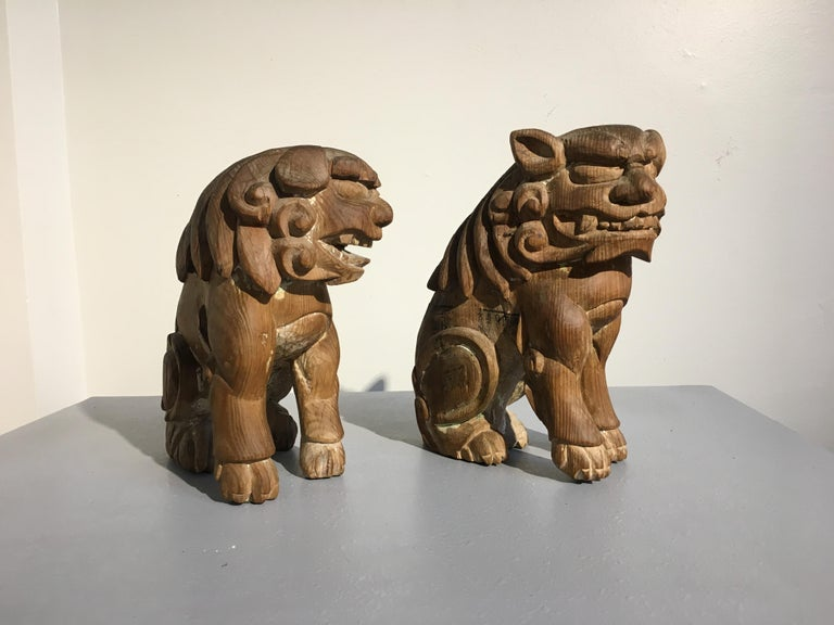 Japanese Edo Period Carved Wood Foo Lion Dogs, Komainu, Early 19th Century, Pair For Sale 2