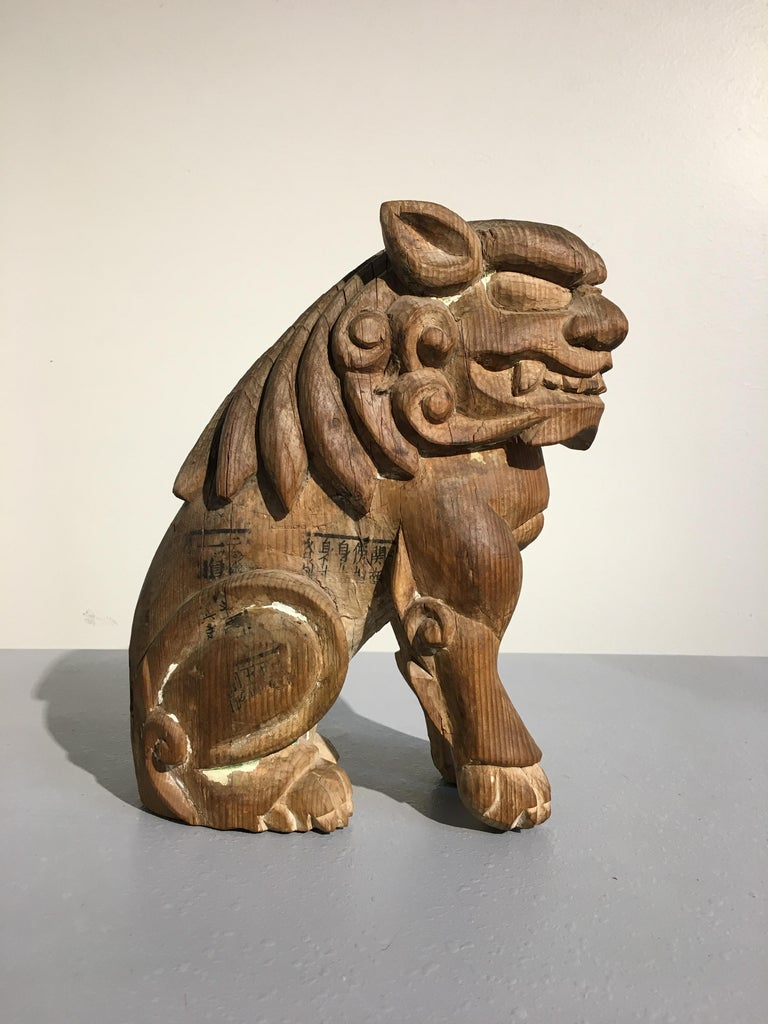 Japanese Edo Period Carved Wood Foo Lion Dogs, Komainu, Early 19th Century, Pair For Sale 3