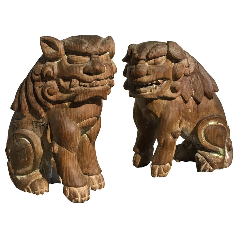 Japanese Edo Period Carved Wood Foo Lion Dogs, Komainu, Early 19th Century, Pair For Sale