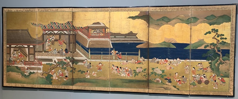 An absolutely charming pair of Japanese Tosa School six-panel folding screens painted with the