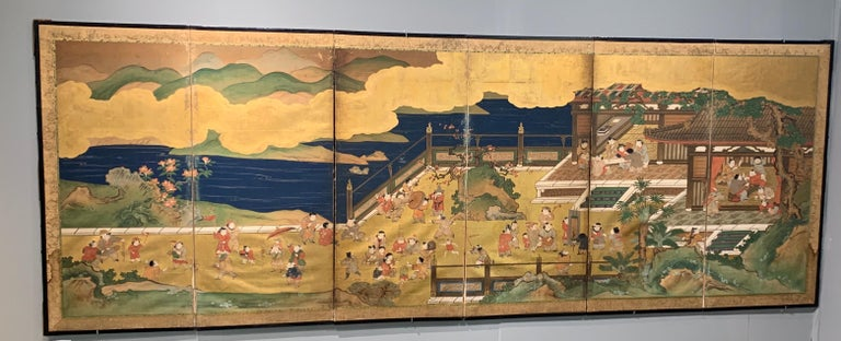 Lacquered Pair of Japanese Edo Period Six-Panel Screen,