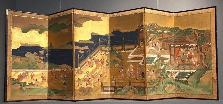 19th Century Pair of Japanese Edo Period Six-Panel Screen,