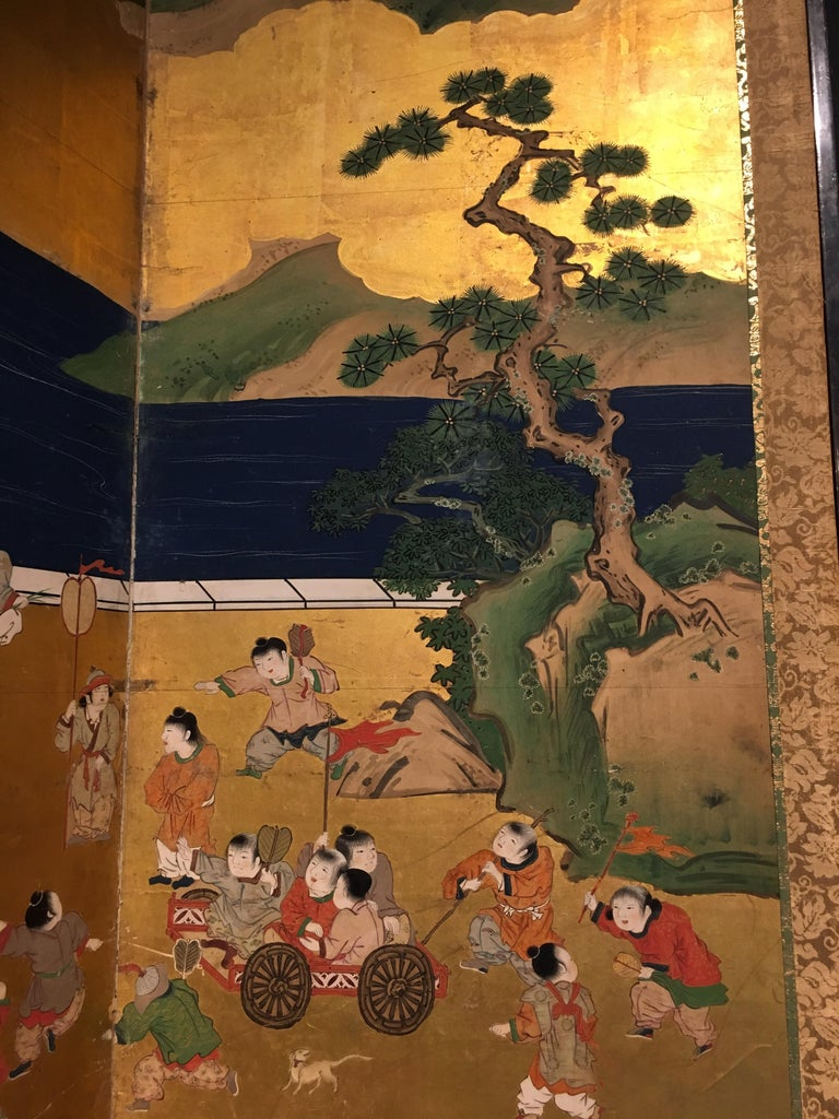 Wood Pair of Japanese Edo Period Six-Panel Screen,