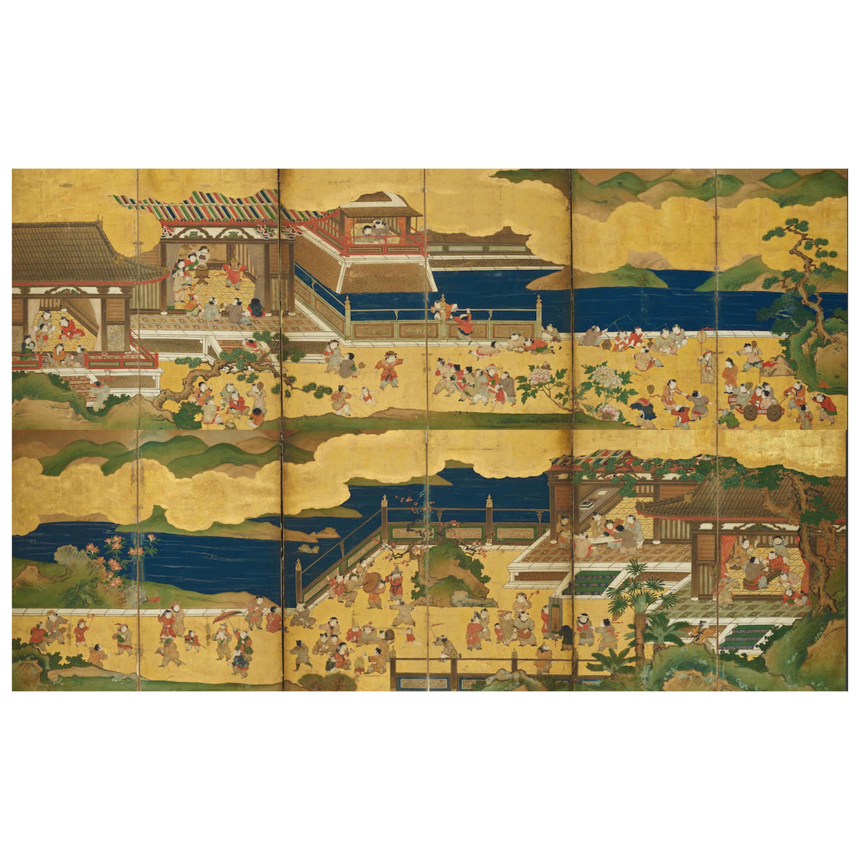 "Pair of Japanese Edo Period Six-Panel Screen, ""100 Boys at Play"""