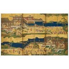 "Pair of Japanese Edo Period Six-Panel Screen, ""100 Boys at Play"""