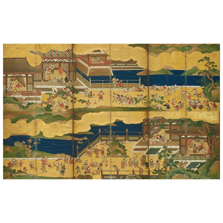 """Pair of Japanese Edo Period Six-Panel Screen, """"100 Boys at Play"""" For Sale"""