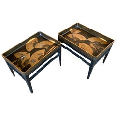 Pair of Japanese Embellished Lacquer Tray Tables Meiji Period, Late 19th Century