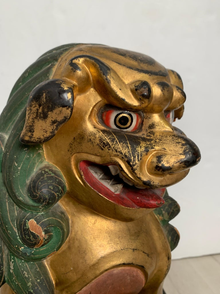 Pair of Japanese Gilt Wood Komainu, Guardian Lions, Early 20th Century, Japan For Sale 9