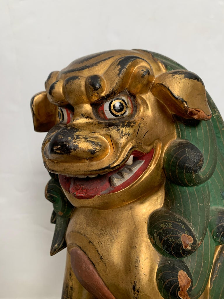 Pair of Japanese Gilt Wood Komainu, Guardian Lions, Early 20th Century, Japan For Sale 10