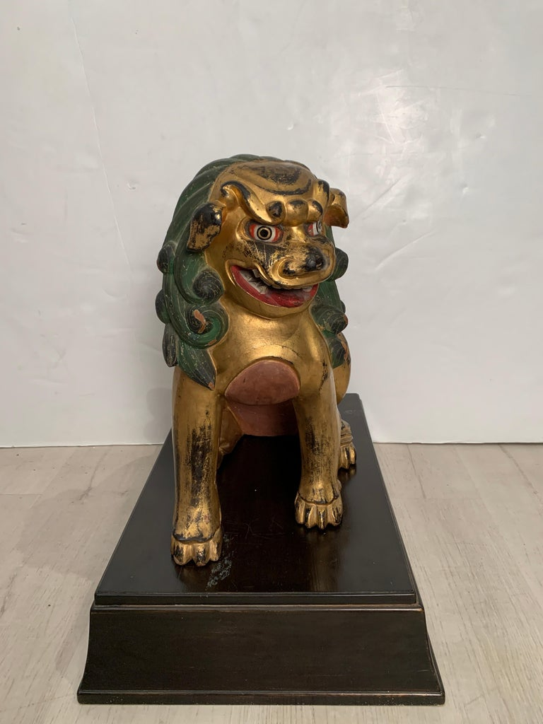Pair of Japanese Gilt Wood Komainu, Guardian Lions, Early 20th Century, Japan For Sale 14