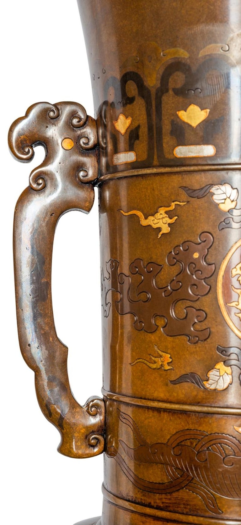 19th Century Pair of Japanese Meiji Period Bronze and Gilt Vases For Sale