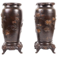 Pair Japanese Meiji Period Bronze Vases or Lamps