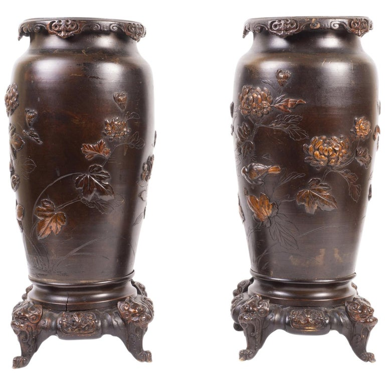 Pair Japanese Meiji Period Bronze Vases or Lamps For Sale