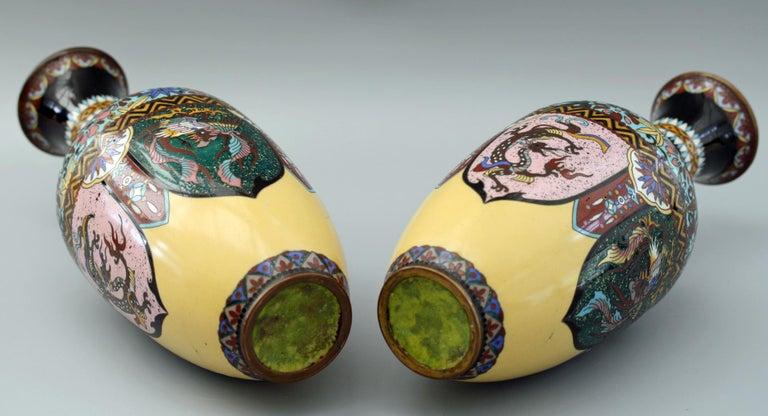Pair of Japanese Meiji Rooster and Dragon Panel Cloisonné Vases For Sale 6