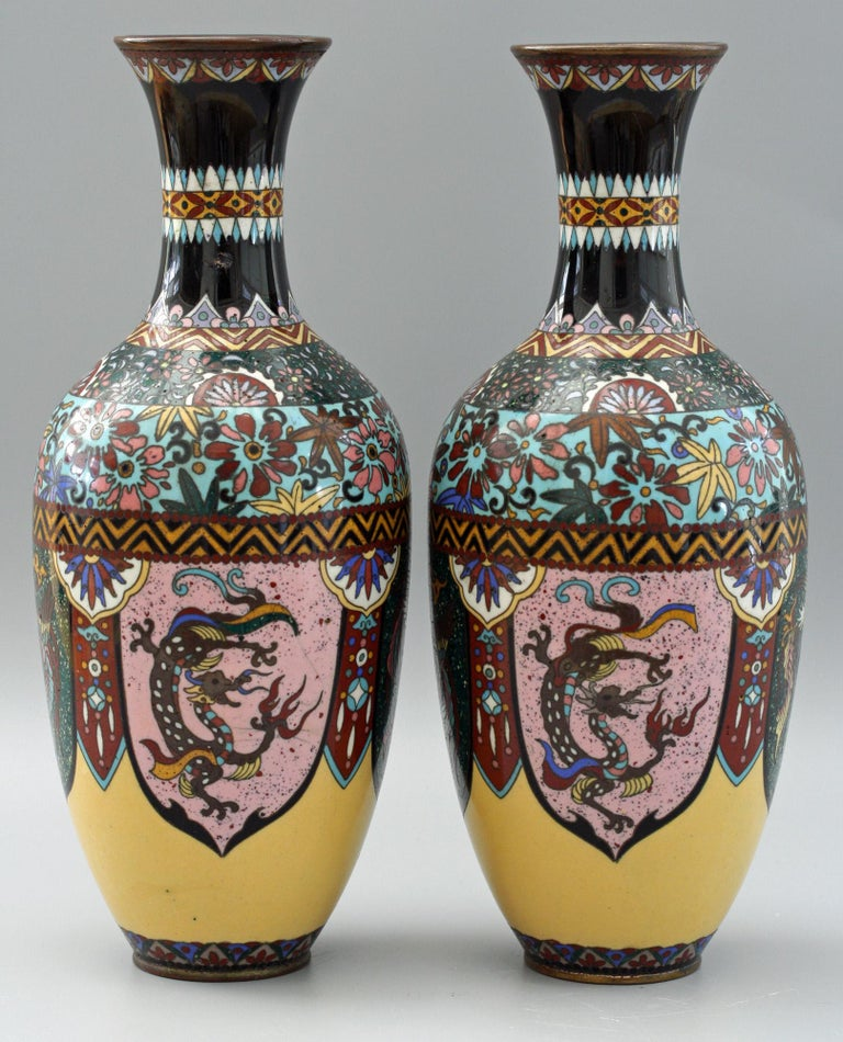 Pair of Japanese Meiji Rooster and Dragon Panel Cloisonné Vases For Sale 7