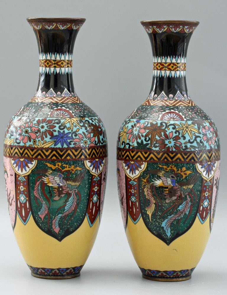 Pair of Japanese Meiji Rooster and Dragon Panel Cloisonné Vases For Sale 11