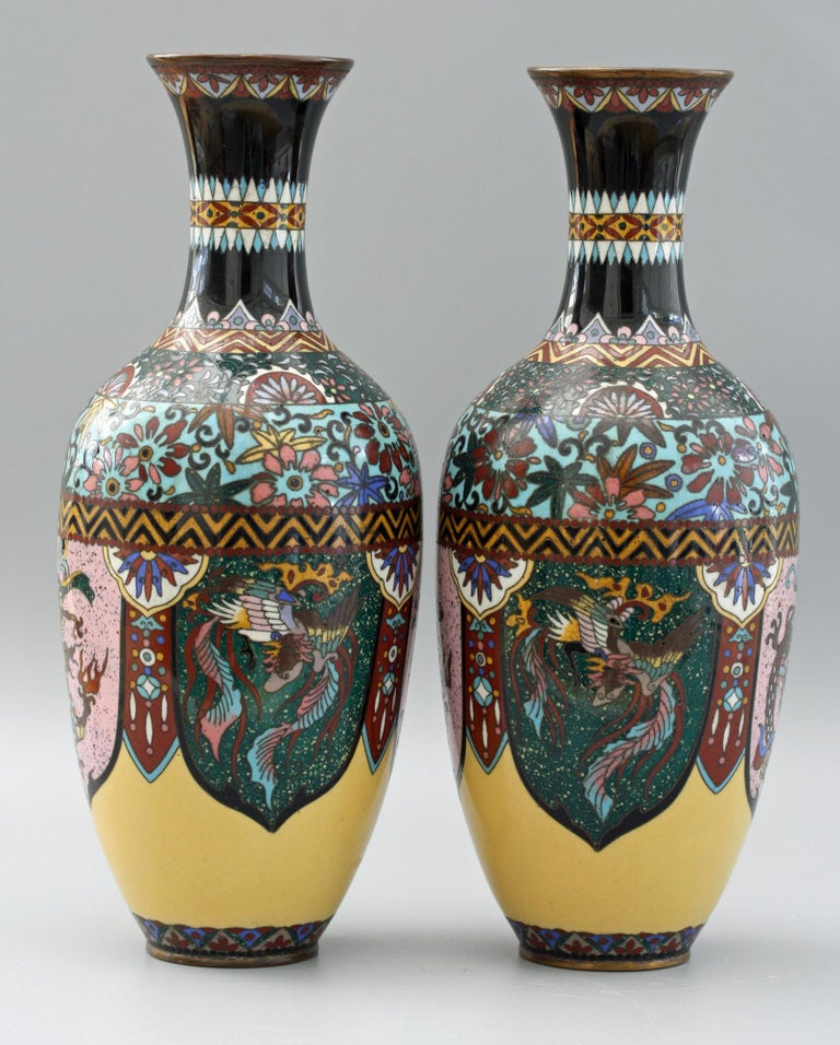 Late 19th Century Pair of Japanese Meiji Rooster and Dragon Panel Cloisonné Vases For Sale