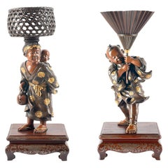 Pair of Japanese Miyao Bronze Figures