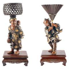 Pair of Japanese Miyao Bronze Figures