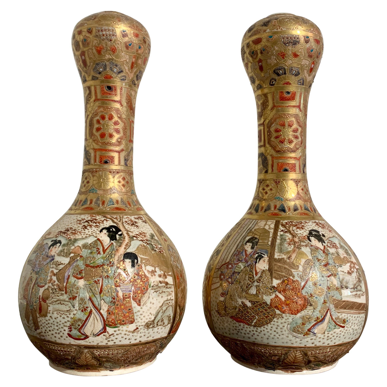 Pair Japanese Satsuma Garlic Head Vases, Meiji period, Early 20th Century