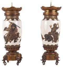Pair Japanese Satsuma Vases / Lamps, 19th Century
