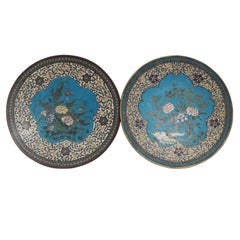 Pair of Japonese Meiji Cloisonne Chargers