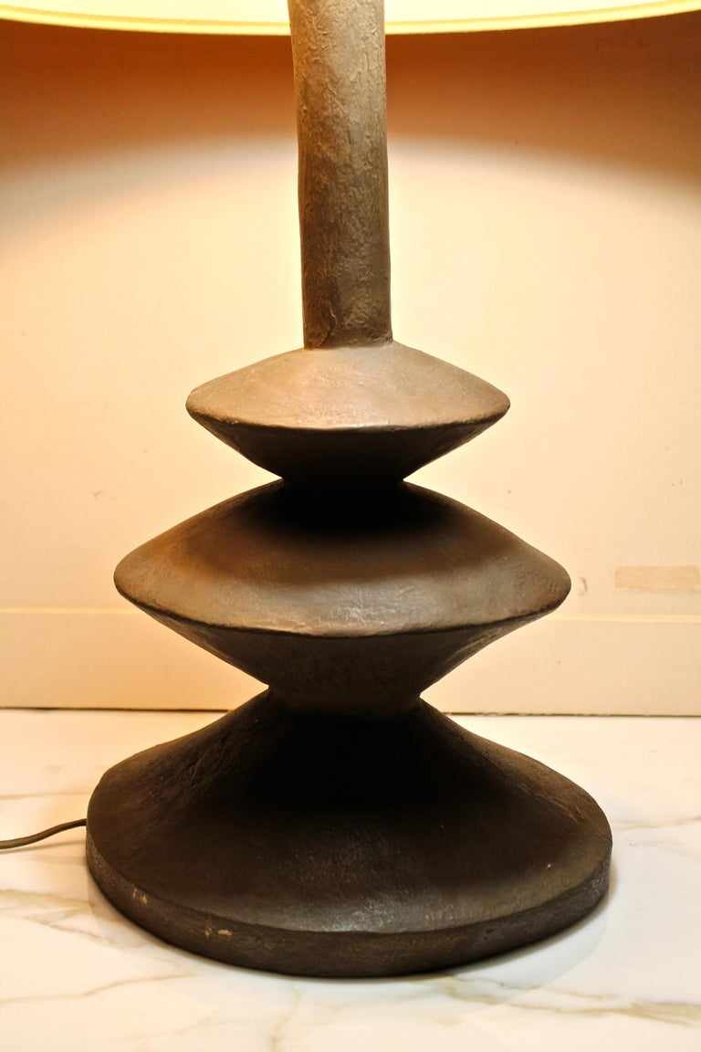 Mid-Century Modern Pair Jaques Grange Sculptural Plaster Lamps After Giacometti For Sale