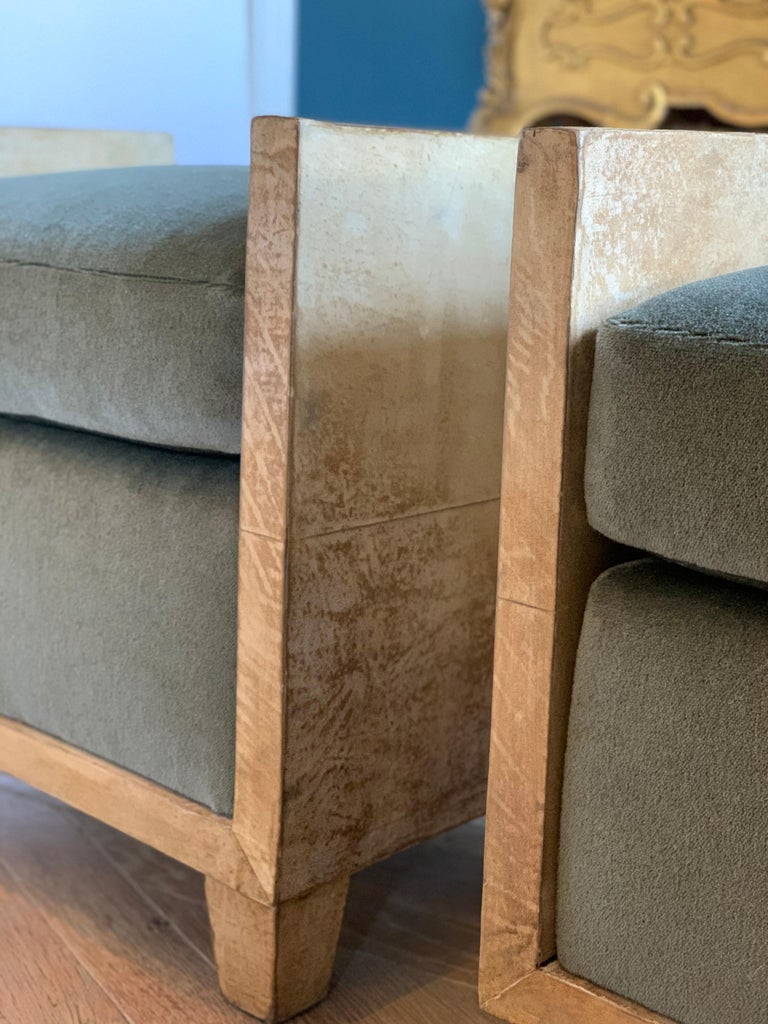 Art Deco Pair of Jean-Michael Frank Style Goatskin Benches in Mohair