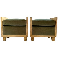 Pair of Jean-Michael Frank Style Goatskin Benches in Mohair
