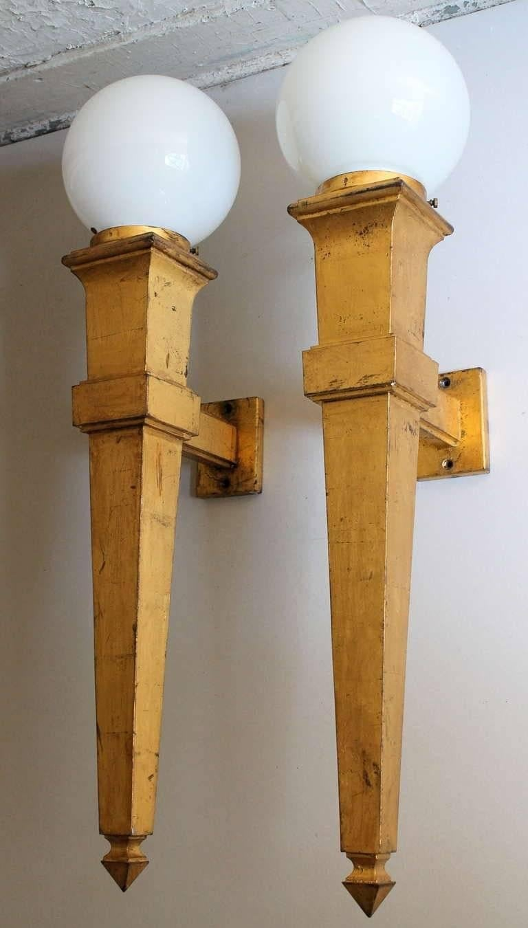 Art Deco Pair of Jean Perzel Attributed 1940s Gilt Iron Wall Sconces For Sale