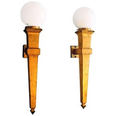 Pair of Jean Perzel Attributed 1940s Gilt Iron Wall Sconces