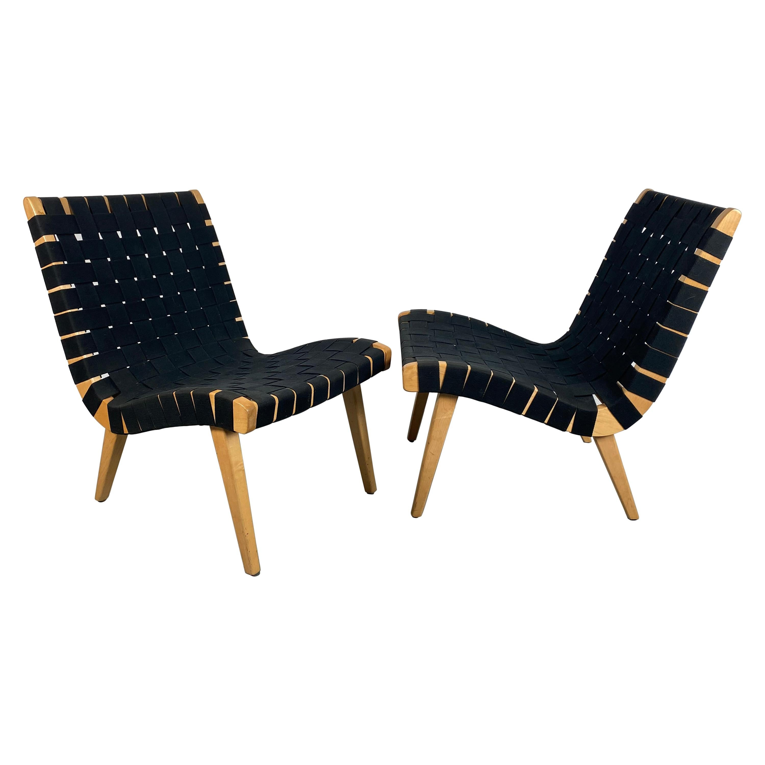 Pair of Jens Risom Webbed Lounge Chairs, Risom / Knoll, Classic Modernist