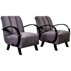 Pair of Jindrich Halabala Chairs with Ebonized Frames and New Upholstery