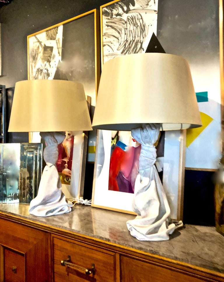 Modern Pair of John Dickinson Style Draped Lamps, circa 1970 For Sale